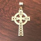 "10K YELLOW GOLD IONA CELTIC CROSS CHARM / PENDANT (MEN/WOMEN) -  1.3""  1.2 GRAMS"