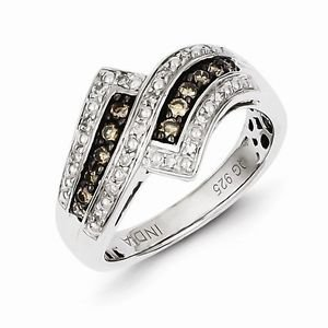 STERLING SILVER 1/3 CT CHAMPAGNE DIAMOND CLUSTER SWIRL RING - SIZE 8