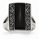 CHISEL BRAND ANTIQUED STAINLESS STEEL RECTANGULAR NATURAL ONYX RING -  SIZE 6
