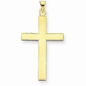 14K SOLID YELLOW GOLD TEXTURED CROSS  CHARM / PENDANT-  2.6 GRAMS