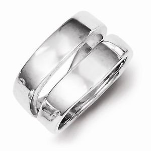 SOLID STERLING SILVER MODERN  DUAL BAND / RING  -  SIZE 8