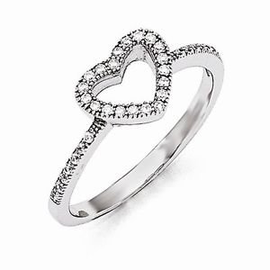 STERLING SILVER BRILLIANT EMBERS 34 STONE CZ HEART RING / BAND  - SIZE 6