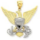 14K SOLID TWO TONE GOLD US NAVY MILITARY EAGLE CHARM /  PENDANT -  5 GRAMS