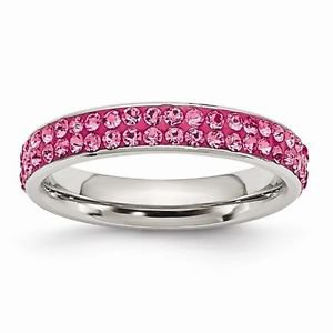 STAINLESS STEEL 4mm POLISHED PINK CRYSTAL RING -  SIZE 9