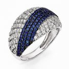 STYLISH STERLING SILVER WHITE & BLUE CZ STRIPE CLUSTER RING- 156 STONES - SIZE 7
