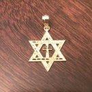 14K YELLOW GOLD DIAMOND-CUT STAR OF DAVID WITH CROSS CHARM / PENDANT  RELIGIOUS