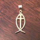 14K YELLOW GOLD POLISHED ICHTHUS FISH CHARM PENDANT RELIGIOUS