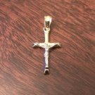 14K GOLD TWO-TONE HOLLOW CRUCIFIX CROSS CHARM PENDANT (MEN/WOMEN)  -  1 INCH