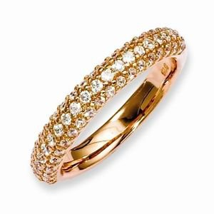 STERLING SILVER ROSE GOLD PLATED 3-ROW PAVE CZ RING / BAND  - SIZE 8