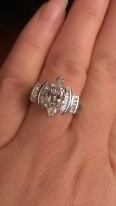 SOLID POLISHED STERLING SILVER MARQUISE & BAGUETTE CZ RING - SIZE 7