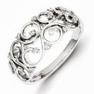 STERLING SILVER  DIAMOND  SWIRL  RING - SIZE 8