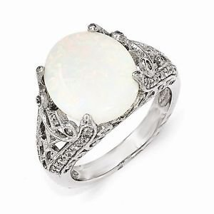 STERLING SILVER SYNTHETIC OPAL & CZ RING BY DESIGNER CHERYL M - SIZE 7