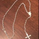 STERLING SILVER POLISHED ROSARY BEADS / NECKLACE WITH CRUCIFIX CROSS