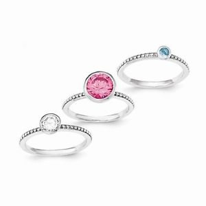STERLING SILVER PINK CZ CLEAR CZ & BLUE GLASS 3 - PIECE RING SET - SIZE 7