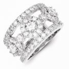 MODERN STERLING SILVER OPEN CLUSTER HALO CZ RING / BAND - 6mm WIDTH  - SIZE 7