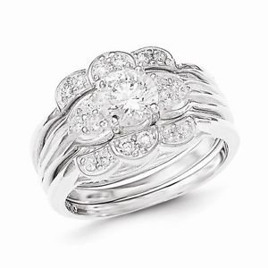 STERLING SILVER ROUND CZ THREE RINGS 3-PIECE RING SET (WEDDING) - SIZE 8