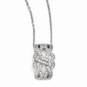 BRILLIANT EMBERS STERLING SILVER &  CZ MODERN TWIST  PENDANT W/  NECKLACE - 18""