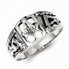 STERLING SILVER ANTIQUED MASONIC  RING -  SIZE 10