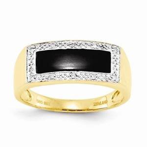 14K YELLOW GOLD ONYX & DIAMOND RECTANGLE TOP MEN'S RING - 4.3 GRAMS  SIZE 10