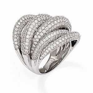 MODERN UNIQUE STERLING SILVER LAYERED MULTI ROW DOMED BAND CZ RING -SIZE 7