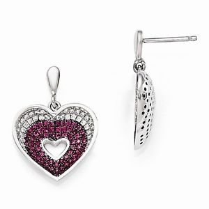 STERLING SILVER WHITE & RED CZ BRILLIANT EMBERS HEART  DROP/DANGLE POST EARRINGS