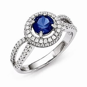 BRILLIANT EMBERS STERLING SILVER ROUND FLOATING HALO BLUE CZ RING - SIZE 8
