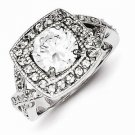 STERLING SILVER ANTIQUE STYLE SQUARE HALO SETTING 8mm ROUND CZ RING - SIZE 7