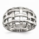 STAINLESS STEEL POLISHED WEAVE DESIGN CONTEMPORARY MODERN RING - SIZE 8