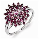 STERLING SILVER POLISHED FLOWER DESIGN .9CT  PINK TOURMALINE  RING - SIZE 9