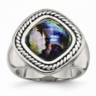 CHISEL BRAND ANTIQUED STAINLESS STEEL SYNTHETIC ABALONE  RING -  SIZE 7