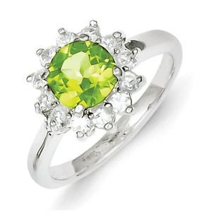 STERLING SILVER GENUINE NATURAL PERIDOT & CZ HALO CLUSTER RING BAND - SIZE 8
