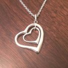 """STERLING SILVER DOUBLE HEART CHARM PENDANT & NECKLACE - 18"""" CHAIN"""