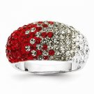 STERLING SILVER OHIO STATE  SCARLET & GREY CRYSTALS SPIRIT RING - SIZE 8
