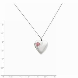 STERLING SILVER HEART WITH ENAMELED ROSE LOCKET CHARM PENDANT & NECKLACE - 18""