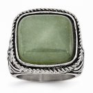CHISEL BRAND ANTIQUED STAINLESS STEEL CHALCEDONY AVENTURINE RING -  SIZE 8