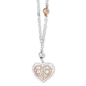 STERLING SILVER TWO TONE POLISHED AND BRUSHED HEART NECKLACE - 18""