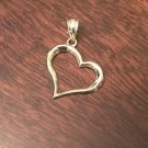 14K YELLOW GOLD POLISHED OPEN HEART PENDANT/CHARM - 1 INCH LENGTH - 0.9 GRAM