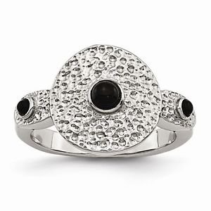 STAINLESS STEEL POLISHED AND TEXTURED BLACK ONYX  RING -  SIZE 7