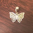 10K GOLD TWO-TONE SMALL DIAMOND CUT BUTTERFLY CHARM / PENDANT -  0.5 GRAMS