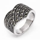 CHISEL BRAND STAINLESS STEEL POLISHIED AND ANTIQUED MARCASITE RING - SIZE 6