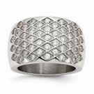 MODERN STYLE STAINLESS STEEL CONTEMPORARY WEAVE DESIGN CZ RING -  SIZE 8