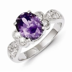 BEAUTIFUL STERLING SILVER POLISHED PURPLE AND CLEAR  CZ RING - SIZE 8