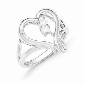 SENTIMENTAL EXPRESSIONS STERLING SILVER PURE IN SPIRIT CZ HEART RING - SIZE 8