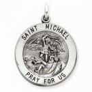 ANTIQUED STERLING SILVER SAINT MICHAEL MEDAL CHARM PENDANT-5.1 GRAMS