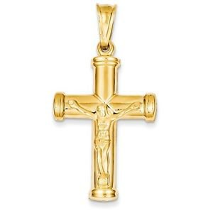 14K YELLOW GOLD HOLLOW REVERSIBLE CROSS / CRUCIFIX CHARM  PENDANT - 1.93 INCHES