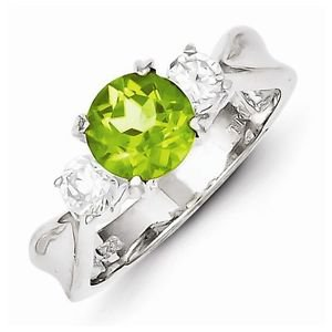 STERLING SILVER 0.85CT GENUINE NATURAL PERIDOT & CZ 3-STONE RING BAND - SIZE 8