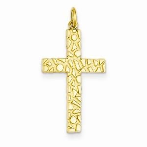 14K SOLID YELLOW GOLD NUGGET STYLE CROSS RELIGIOUS  CHARM PENDANT - 1.4  GRAMS