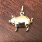 14K YELLOW GOLD SMALL POLISHED PIG PENDANT / CHARM  -  0.7 INCHES