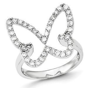SOLID POLISHED STERLING SILVER CZ OPEN BUTTERFLY RING / BAND -  SIZE 8
