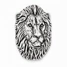 ANTIQUED STERLING SILVER LION HEAD PENDANT CHARM - 11.5 GRAMS